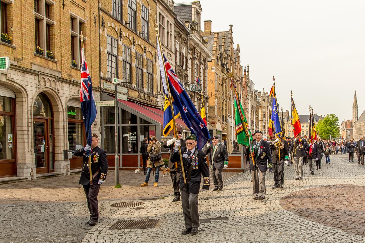 Veterans marching to Menin Gate