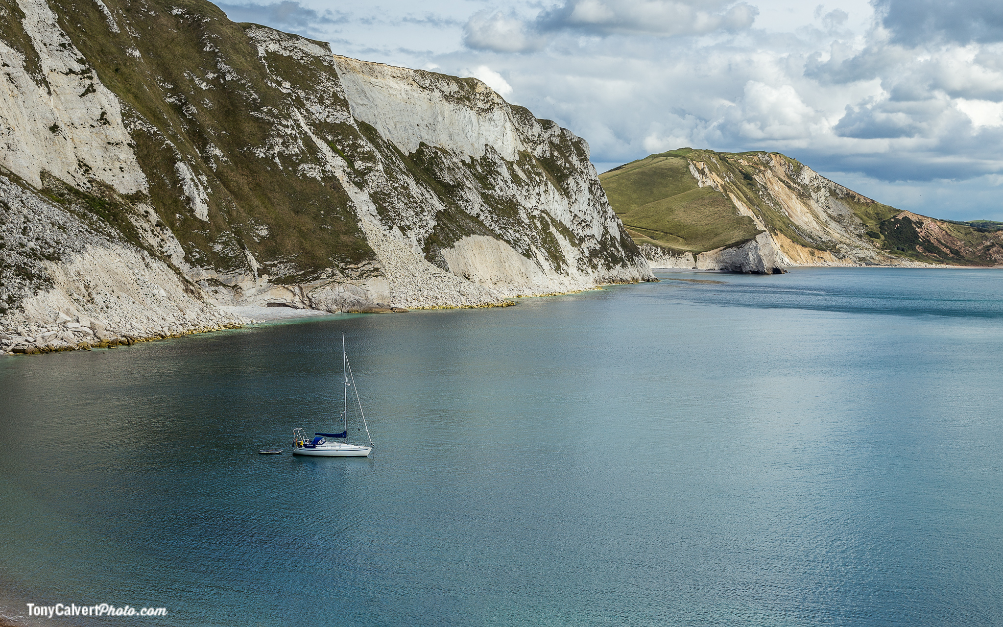 Yacht anchored on the Dorset Coast